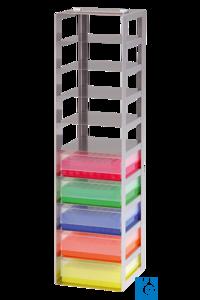 neoLab® Truhengestell f. 50er Box, 7 Fächer, 141 x 141 x 391 mm Für alle Boxen mit den Außenmaßen...