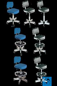 neoLab® Reinraumstuhl PU-Schaum blau, Höhenverst. 73-97 cm, Gleiter + Fußring Komfortable Stühle...