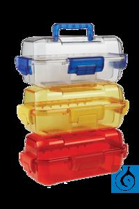 neoLab® Sicherheits-Transportbox aus PC, transparent/blau Ideal für den...