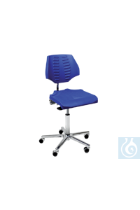neoLab Drehstuhl Sitzneigeverst., PU-Schaum blau, 45-65 cm,mit Rollen Swivel chair with...