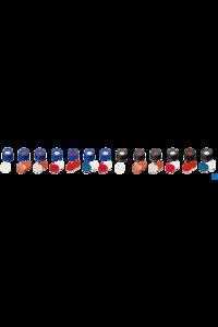 neochrom® Schraubkappe ND9 Kurzgewinde, PP blau mit Loch, Silikon weiß/PTFE rot,