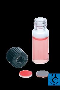Vials 4 ml, Kappe m. Loch + Sept. Butyl/PTFE, 100 St./Pack Autosampler-Vials 4 ml mit Gewinde...