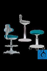 neoLab® Laborstuhl reinraumtauglich, 400-510 mm, Fußring, Rollen, Sitz mint Das