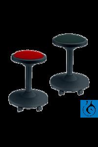 neoLab® Hocker schwarz mit rotem Sitzpolster, 6 Rollen Funktioneller Schnellsitz aus...