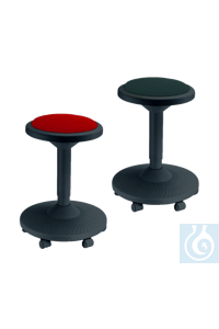 neoLab® Hocker schwarz mit rotem Sitzpolster, 6 Rollen neoLab® Stool black, with red seat...