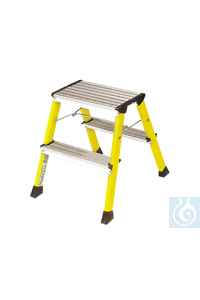 neoLab Roll-Tritthocker gelb, Doppeltritt 2 x 2 Stufen, 44 cm hoch Ein zuverlässiger...