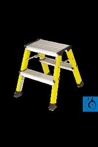 neoLab® Roll-Tritthocker gelb, Doppeltritt 2 x 2 Stufen, 44 cm hoch neoLab® Rolling step stool,...