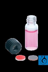 Vials 1,2 ml, Kappe m. Loch + Sept. Butyl/PTFE, 100 St./Pack Autosampler-Vials 1,2 ml mit Gewinde...