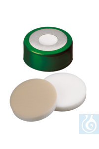 neochrom® Alu-Bördelkappen ND11 mit Loch, Septum PTFE rot/Silikon/PTFE rot, 100...