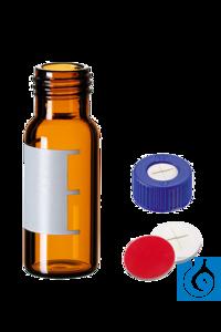 neochrom® 2 ml Schraubfläschchen, Klarglas, mit Schriftfeld, montiert mit 9...