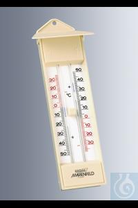 Maxima-Minima-Thermometer, elfenbeinfarbiges Kunststoffgehäuse mit Schutzdach, 230x60 mm, mit...