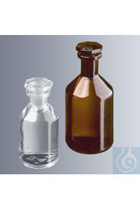 Steilbrustflaschen 500 ml, Enghals, Klarglas mit Normschliff und Glasstopfen NS 24/29...