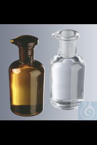 Tropfflaschen 50 ml, Klarglas, mit flachem Deckelstopfen aus Glas, Rundschulter Großpackung: 96...