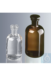 Round shoulder bottles 500 ml, narrow neck, amber glass with standard ground joint and glass...