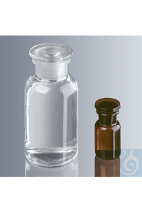 Round shoulder bottles 250 ml, wide neck, clear glass with standard ground joint and glass...