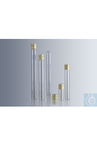 Culture medium tubes 144.5x17.75 mm, soda lime glass, flat bottom, with...
