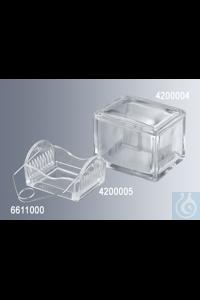 Färbekästen mit Deckel aus starkwandigem Natron-Kalk-Glas, Abmessungen mit Deckel 105x85x70 mm,...