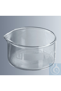 Crystallizing dishes 95x55 mm (Ø x H), 200 ml with spout, borosilicate glass 3.3, cylindrical,...
