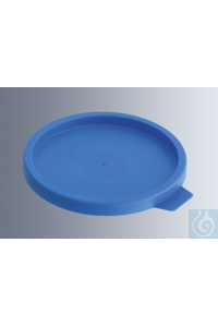 Lids for urine beakers, made of LD-PE, blue, without pouring nozzle, frosted...