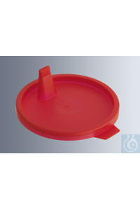 Lids for urine beakers, made of LD-PE, red, with pouring nozzle, frosted...