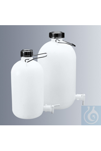 Aspirator bottles 10 ltrs., polyethylene, narrow neck, with screw cap and carrying bail, with...