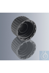 Screw cap, black, with DIN thread GL 18, made of HDPE, with barrel gasket