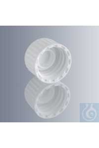 Screw cap, white, with DIN thread GL 18, made of HDPE, with barrel gasket