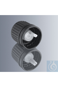 Temper-evident screw caps, black HDPE, with DIN thread GL 18, with dropper...