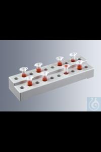 Gestelle für Reaktionsgefäße, hergestellt aus Kunststoff (ABS), mit Platz für bis zu 20...