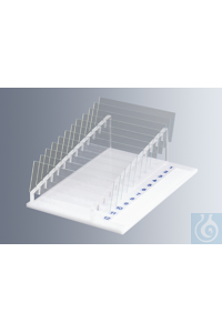 Rack for microscope slides, plexiglass, with numbered slots and marking area,...