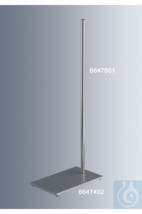 Stand bases 210x130 mm, made of powder-coated steel, with rubber feet and bore of thread size...
