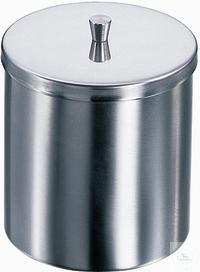 Dose mit Deckel, 150 X 150 mm (Ø X H), rostfreier Edelstahl mit Knopfdeckel