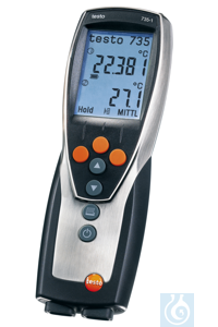 testo 735-1 - Temperature measuring instrument (3-channel) Up to three probes can be attached and...