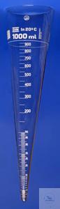 Sedimentiergefäß/Imhoff, 1000 ml ohne Hahn, Borosilikat graduiert 0 bis 2 ml in 0,1 ml; 2 bis 10...