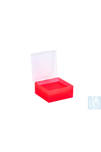 Cryo Boxes, PP, red, grid 9 x 9,  133 x 133 x 75 mm Cryo Boxes, PP, red, grid...