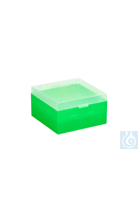 Cryo Boxes, PP, green, grid 9 x 9,  133 x 133 x 75 mm Cryo Boxes, PP, green,...