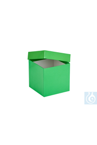 ratiolab® Cryo-Boxes, cardboard,  plastic coated, green, 133 x 133 x 130 m m...