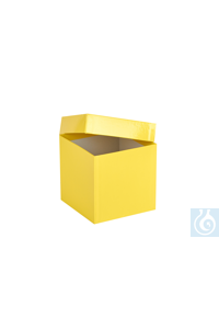 ratiolab® Cryo-Boxes, cardboard,  plastic coated, yellow, 133 x 133 x 130  mm...