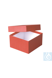 ratiolab® Cryo-Boxes, cardboard,  plastic coated, red, 136 x 136 x 75 mm...