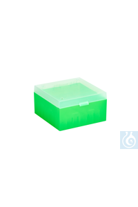 ratiolab® Cryo-Boxes, PP, without grid,  green, 133 x 133 x 75 mm ratiolab®...