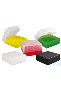 ratiolab®Cryo-Boxes, PP, grid 8 x 8, mix ed, 133 x 133 x 50/75 mm, combi-lid,...