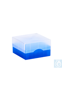 ratiolab®Cryo-Boxes, PP, grid 7 x 7, blu e, 133 x 133 x 50/75 mm, combi-lid,...