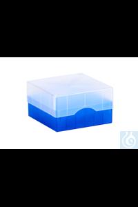 ratiolab®Cryo-Boxes, PP, grid 6 x 6, blu e, 133 x 133 x 50/75 mm, combi-lid,...