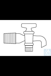 Aspirator bottle stopcock, cone NS 19, glass plug NS 14 ? 4 mm