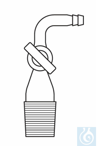 Adapter cone NS 19/26, right angled hose connection (90°), glass stopcock