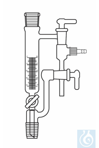 Distilling receivers, Anschütz Thiele, 50 ml, NS 29/32, with vertical adapter, drain stopcock...