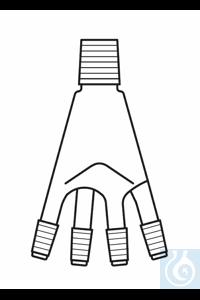 Distributeur pour récepteur de distillation, Bredt, 50 ml, rodage mâle NS 19, 4 x rodage mâle NS 14