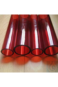 Tubes in colored borosilicate glass 3.3, dia 25 x wall 4 x L= +-1220, striking red
