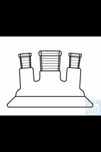 Couvercle à trois cols, rodage plan, DN 100, centre: NS 29, latéral: 2 x NS 29, incliné