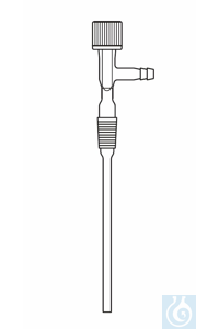 Gas inlet tube, cone NS 29, spindle valve, right angled hose connection, length from upper rim of...